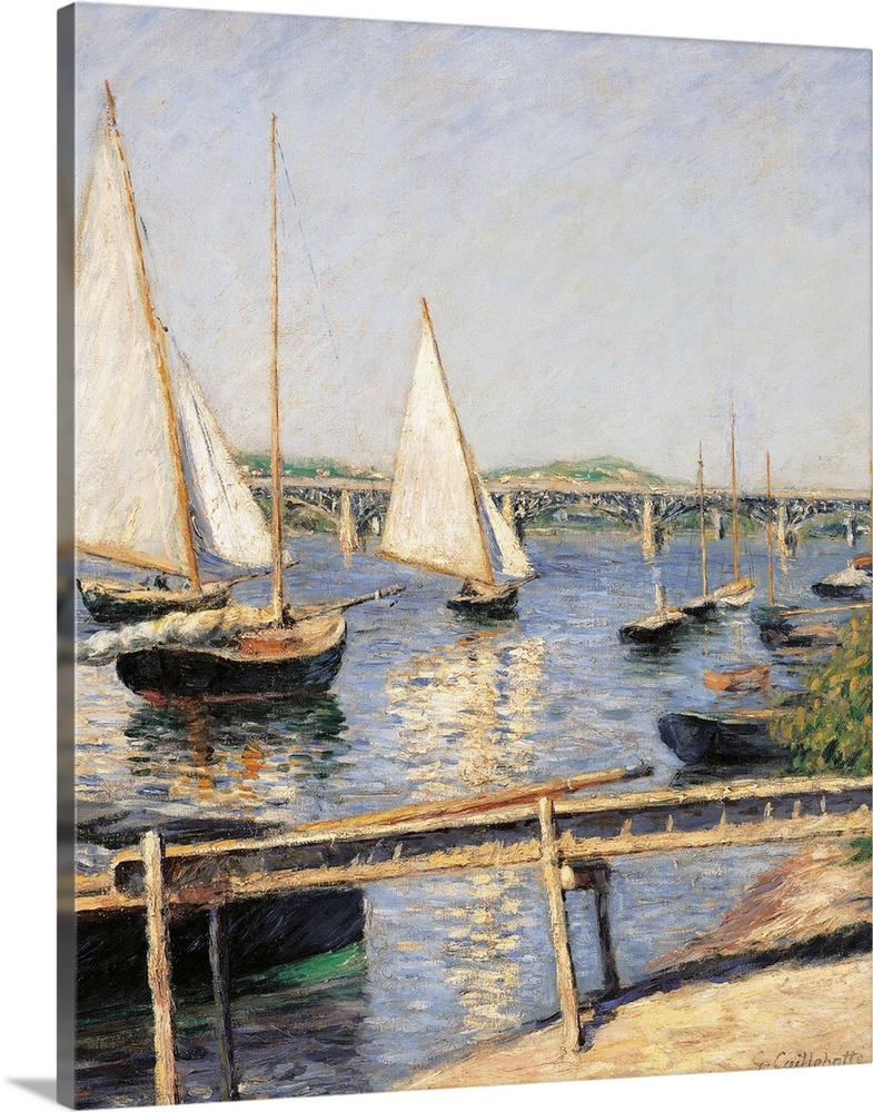 Large Solid-Faced Canvas Print Wall Art Print 24 x 30 entitled Sailing Boats at Argenteuil, by Gustave Caillebotte, c. 188... Solid-Faced Canvas Print entitled Sailing Boats at Argenteuil, by Gustave Caillebotte, c. 1888. Musee dOrsay.  Sailing Boats at Argenteuil, by Gustave Caillebotte, 1888 about, 19th Century, oil on canvas, cm 35,5 x 55 - France, Ile de France, Paris, Muse dOrsay. All. Boats sailing boats at Argenteuil dock light blue azure shadows boats bank water sail white. 2512.  Multiple sizes available.  Primary colors within this image include Forest Green, Peach, Dark Gray, White.  Made in the USA.  Satisfaction guaranteed.  Archival-quality UV-resistant inks.  Canvas is handcrafted and made-to-order in the United States using high quality artist-grade canvas.  Archival inks prevent fading and preserve as much fine detail as possible with no over-saturation or color shifting.