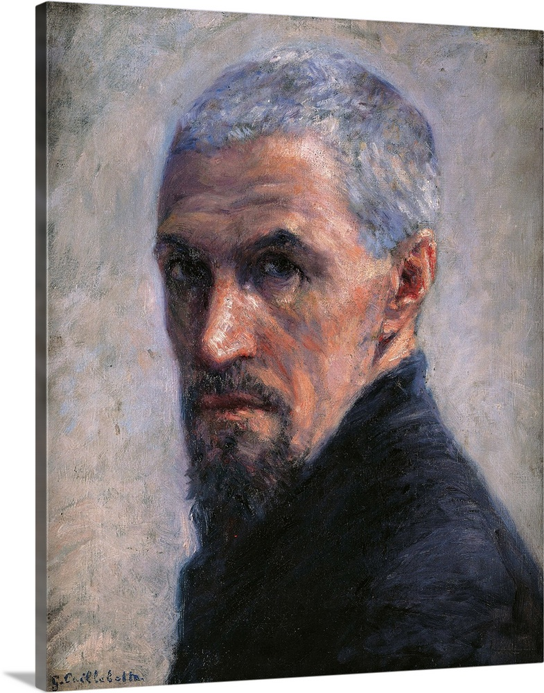 Large Gallery-Wrapped Canvas Wall Art Print 16 x 20 entitled Self portrait, by Gustave Caillebotte, ca. 1889. Musee d'Orsa... Gallery-Wrapped Canvas entitled Self portrait, by Gustave Caillebotte, ca. 1889. Musee dOrsay, Paris, France.  Self portrait, by Gustave Caillebotte, 1889 about, 19th Century, oil on canvas, cm 40,5 x 32,5 - France, Ile de France, Paris, Muse dOrsay. All. Self portrait short hair gray beard moustaches bust clothes black face. 251203 Everett CollectionMondadori.  Multiple sizes available.  Primary colors within this image include Dark Gray, Light Gray.  Made in USA.  All products come with a 365 day workmanship guarantee.  Inks used are latex-based and designed to last.  Canvas frames are built with farmed or reclaimed domestic pine or poplar wood.  Canvases are stretched across a 1.5 inch thick wooden frame with easy-to-mount hanging hardware.