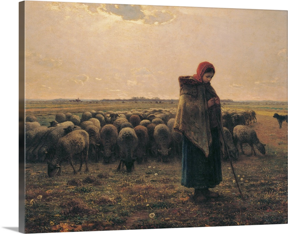 Large Gallery-Wrapped Canvas Wall Art Print 24 x 20 entitled Shepherdess with Her Flock, by Jean-Francois Millet, 1863. Mu... Gallery-Wrapped Canvas entitled Shepherdess with Her Flock by Jean-Francois Millet 1863. Musee dOrsay Paris France.  Shepherdess with Her Flock by Jean-Franois Millet 19th Century oil on canvas cm 81 x 100 - France Ile de France Paris Muse dOrsay RF1879. All. Young woman skirt sheep The Shepherdess with Her Flock known also as The Shepherdess with Her Sheep bac.  Multiple sizes available.  Primary colors within this image include Dark Red Peach Dark Gray.  Made in the USA.  Satisfaction guaranteed.  Archival-quality UV-resistant inks.  Canvas is acid-free and 20 millimeters thick.  Canvases are stretched across a 1.5 inch thick wooden frame with easy-to-mount hanging hardware.