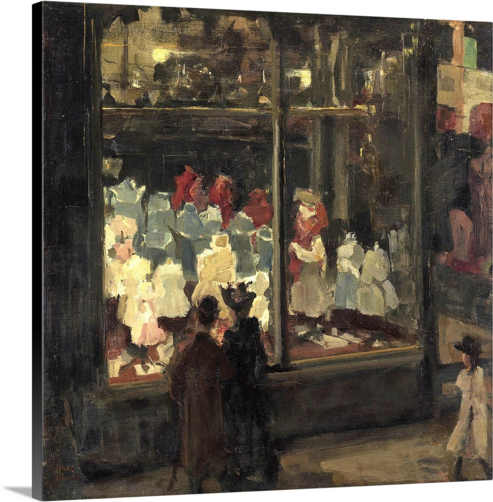 Large Gallery-Wrapped Canvas Wall Art Print 20 x 19 entitled Shop Window, by Isaac Israels, 1894, Dutch painting, oil on c... Gallery-Wrapped Canvas entitled Shop Window by Isaac Israels 1894 Dutch painting oil on canvas.  Shop Window by Isaac Israels 1894 Dutch painting oil on canvas. A couple look at childrens apparel in the illuminated shop window of the clothing store Bahlmann and Co. on the Nieuwendijk in Amsterdam. Electrically light was introduced in the 1880-90s extending street life in cities.  Multiple sizes available.  Primary colors within this image include Dark Gray Gray.  Made in the USA.  Satisfaction guaranteed.  Inks used are latex-based and designed to last.  Canvas frames are built with farmed or reclaimed domestic pine or poplar wood.  Canvases are stretched across a 1.5 inch thick wooden frame with easy-to-mount hanging hardware.