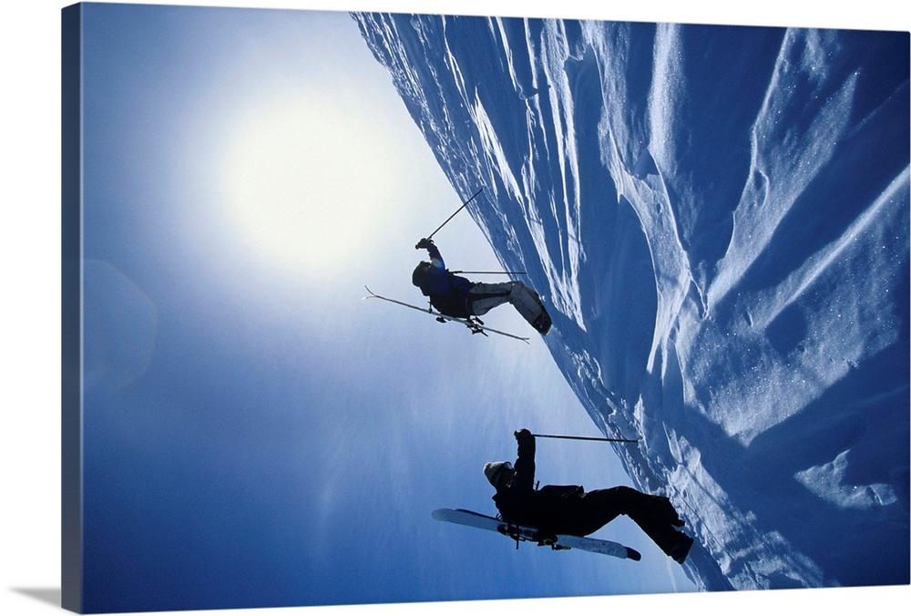 Canvas Kunst Drucken  Skiers HiKönig To Mountain Summit