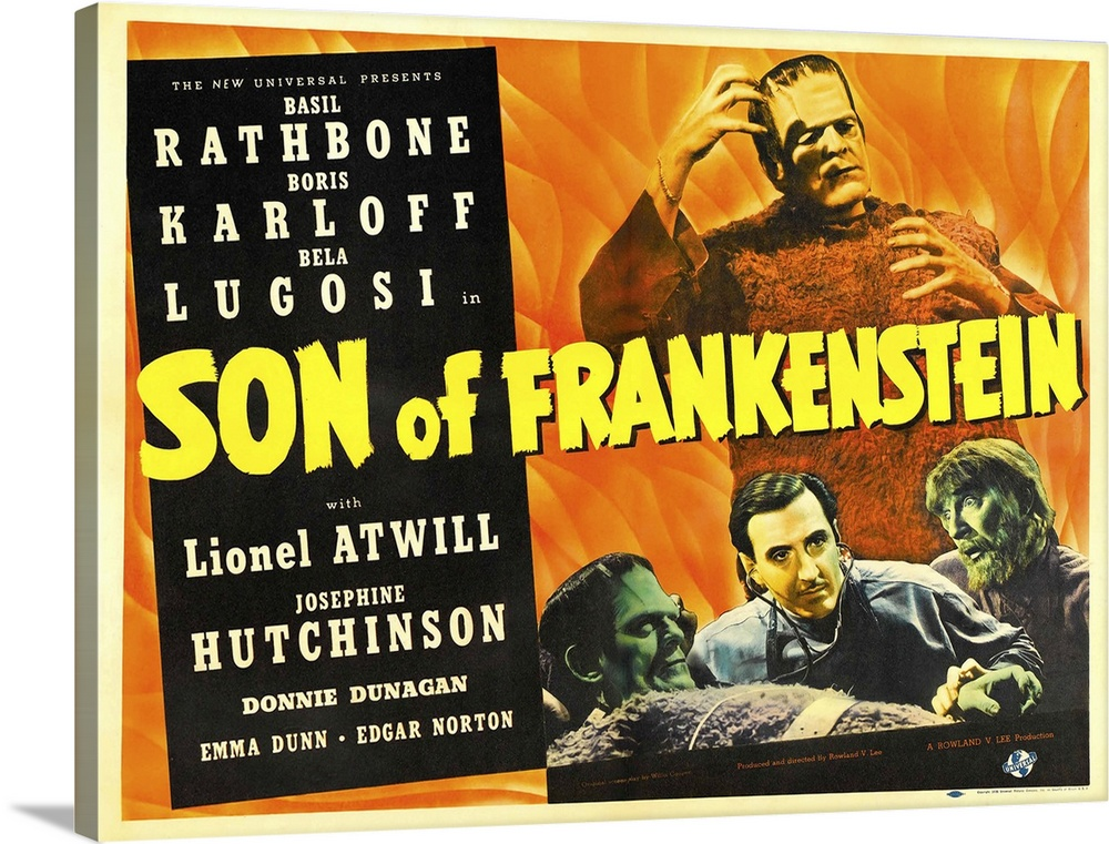 Solid-Faced Canvas Print Wall Art entitled Son Of Frankenstein - Vintage Movie