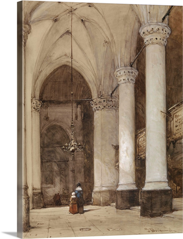 Large Solid-Faced Canvas Print Wall Art Print 30 x 40 entitled Southern aisle of the Great Church at The Hague, Johannes B... Solid-Faced Canvas Print entitled Southern aisle of the Great Church at The Hague, Johannes Bosboom, c. 1850-80.  Southern aisle of the Great Church at The Hague, Johannes Bosboom, c. 1850-80, Dutch watercolor painting. The figures are wearing 17th century clothing.  Multiple sizes available.  Primary colors within this image include Dark Gray, Light Gray.  Made in the USA.  Satisfaction guaranteed.  Archival-quality UV-resistant inks.  Canvas is handcrafted and made-to-order in the United States using high quality artist-grade canvas.  Featuring a proprietary design, our canvases produce the tightest corners without any bubbles, ripples, or bumps and will not warp or sag over time.