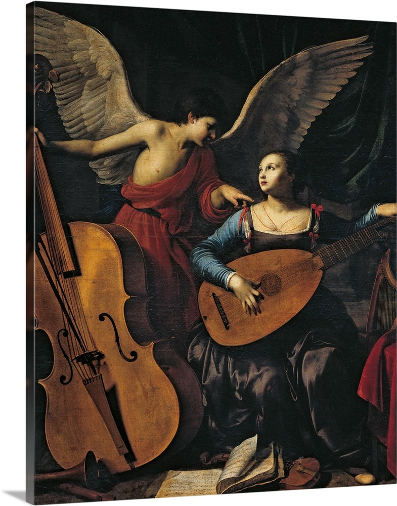 Solid-Faced Canvas drucken wand kunst entitled St. Cecilia and the Angel, by Carlo