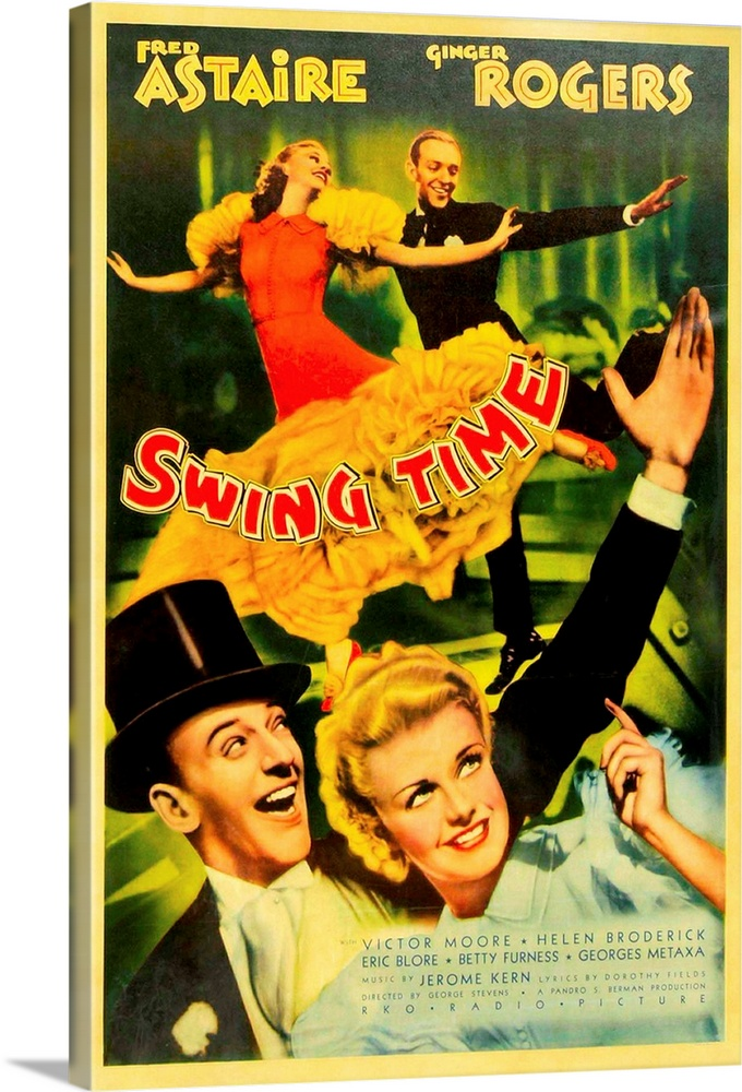 Large Solid-Faced Canvas Print Wall Art Print 20 x 30 entitled Swing Time - Vintage Movie Poster Solid-Faced Canvas Print entitled Swing Time - Vintage Movie Poster.  Multiple sizes available.  Primary colors within this image include Yellow, Brown, Light Yellow, Black.  Made in USA.  All products come with a 365 day workmanship guarantee.  Inks used are latex-based and designed to last.  Featuring a proprietary design, our canvases produce the tightest corners without any bubbles, ripples, or bumps and will not warp or sag over time.  Canvas is handcrafted and made-to-order in the United States using high quality artist-grade canvas.