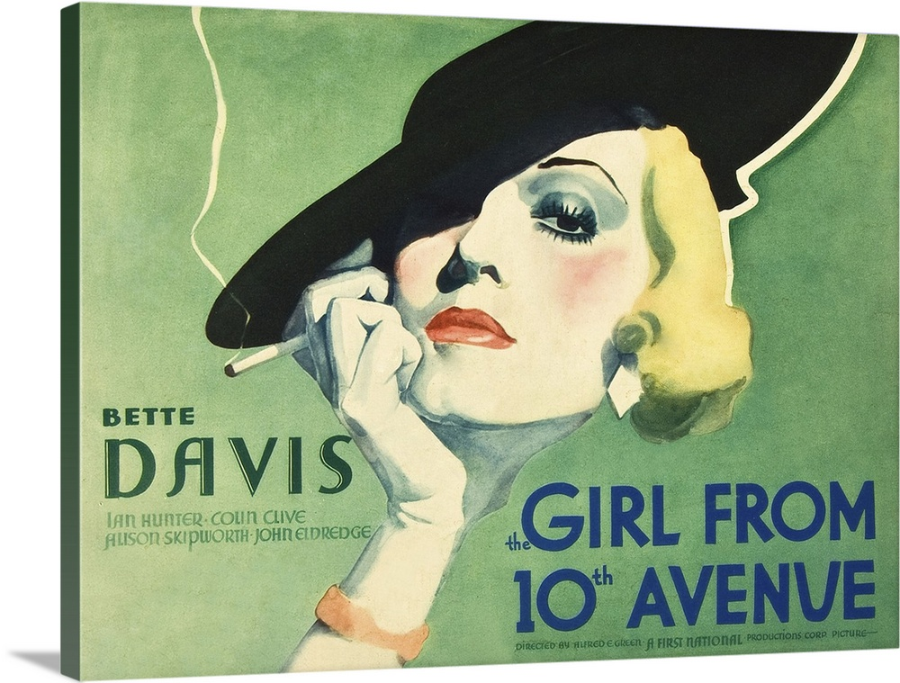 Solid-Faced Canvas Print Wall Art entitled The Girl From 10th Avenue - Vintage