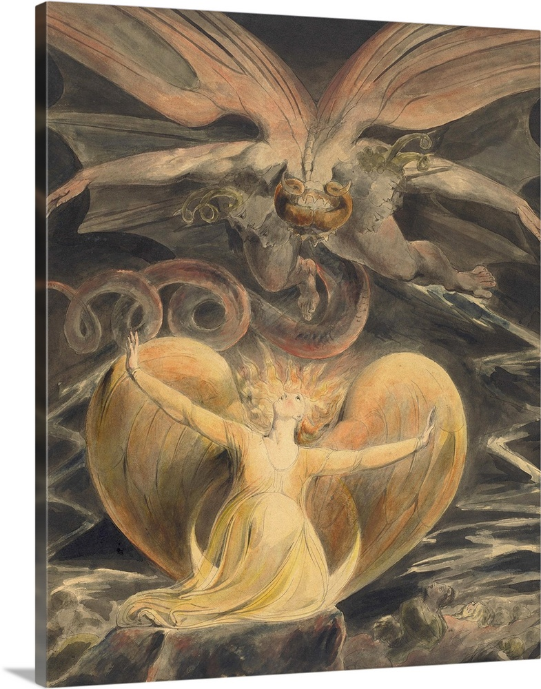 Large Solid-Faced Canvas Print Wall Art Print 24 x 30 entitled The Great Red Dragon and the Woman Clothed with the Sun, by... Solid-Faced Canvas Print entitled The Great Red Dragon and the Woman Clothed with the Sun, by William Blake, 1805.  The Great Red Dragon and the Woman Clothed with the Sun, by William Blake, 1805, British painting, pen and ink with watercolor over graphite BSLOC_2016_6_239.  Multiple sizes available.  Primary colors within this image include Peach, Black, Gray.  Made in the USA.  Satisfaction guaranteed.  Inks used are latex-based and designed to last.  Canvas depth is 1.25 and includes a finished backing with pre-installed hanging hardware.  Canvas is handcrafted and made-to-order in the United States using high quality artist-grade canvas.
