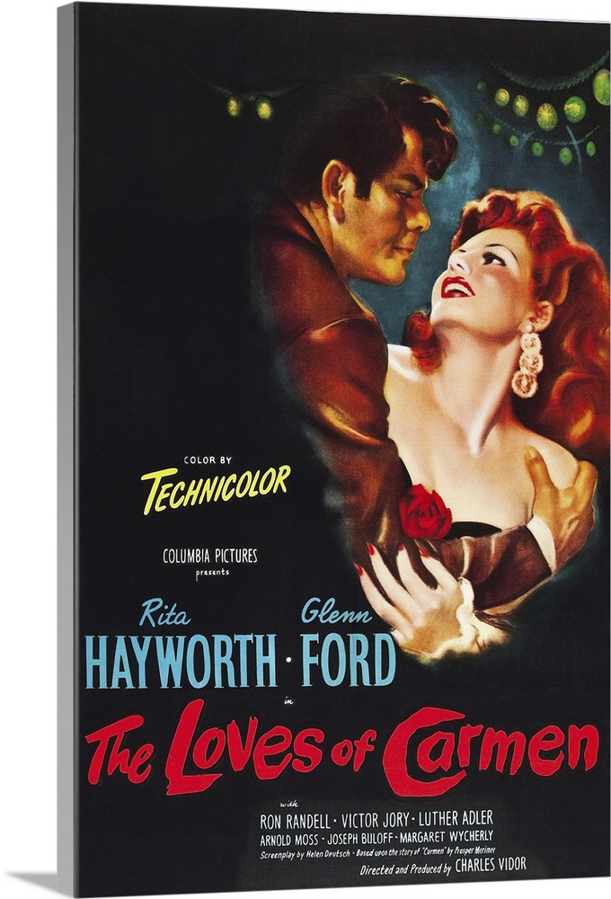 Large Solid-Faced Canvas Print Wall Art Print 20 x 30 entitled The Loves Of Carmen - Vintage Movie Poster Solid-Faced Canvas Print entitled The Loves Of Carmen - Vintage Movie Poster.  Multiple sizes available.  Primary colors within this image include Dark Red, Dark Gray, White, Light Gray Blue.  Made in the USA.  Satisfaction guaranteed.  Archival-quality UV-resistant inks.  Archival inks prevent fading and preserve as much fine detail as possible with no over-saturation or color shifting.  Featuring a proprietary design, our canvases produce the tightest corners without any bubbles, ripples, or bumps and will not warp or sag over time.