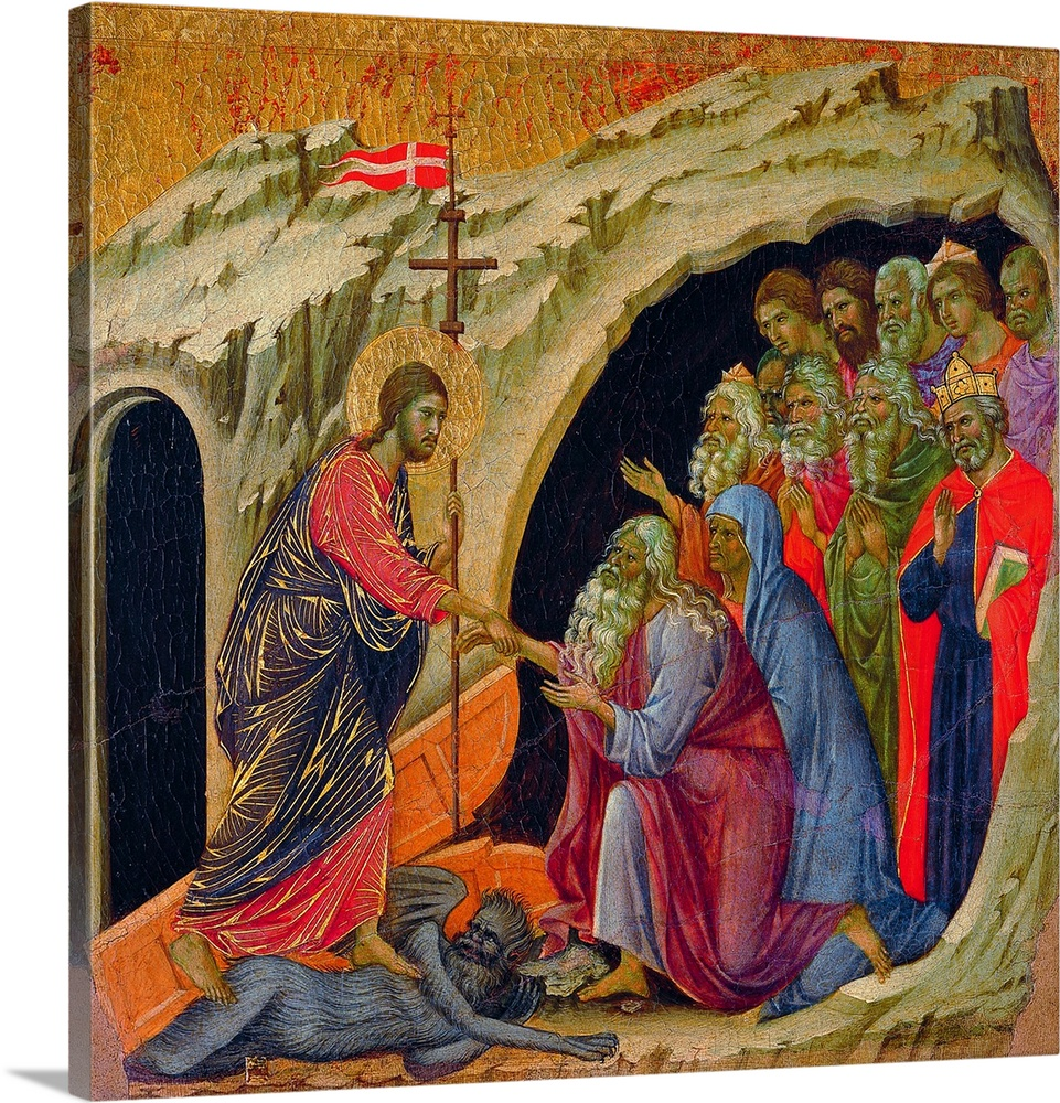 Large Solid-Faced Canvas Print Wall Art Print 20 x 20 entitled The Maesta?: Christ's Descent to Limbo, painting by Duccio ... Solid-Faced Canvas Print entitled The Maesta Christs Descent to Limbo, painting by Duccio di Buoninsegna, 1308-11.  The Maest, front, by Duccio di Buoninsegna, 1308, 1311, 14th Century, tempera on panel, Italy, Tuscany, Siena, Cathedral. Back, upper fascia, detail sixth panel down Descent to Limbo. Christ has a red and blue cloth with golden heightening, trampling on a devil turning to the souls coming out from a cave bearded men, Duccio di Buoninsegna, The Maest , XIV, tempera on panelAntonio QuattroneArchivio Antonio Quattrone.  Multiple sizes available.  Primary colors within this image include Brown, Dark Yellow, Plum, Dark Navy Blue.  Made in USA.  Satisfaction guaranteed.  Inks used are latex-based and designed to last.  Canvas is handcrafted and made-to-order in the United States using high quality artist-grade canvas.  Archival inks prevent fading and preserve as much fine detail as possible with no over-saturation or color shifting.