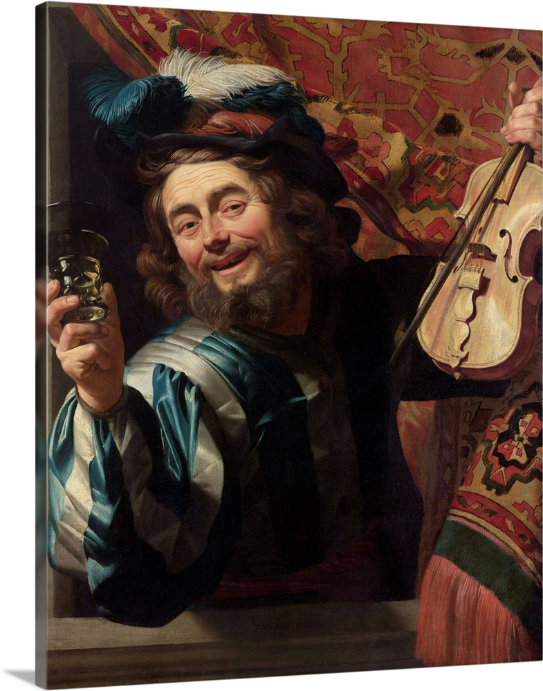 Large Solid-Faced Canvas Print Wall Art Print 24 x 30 entitled The Merry Fiddler, by Gerard van Honthorst, 1623 Solid-Faced Canvas Print entitled The Merry Fiddler, by Gerard van Honthorst, 1623.  The Merry Fiddler, by Gerard van Honthorst, 1623, Dutch painting, oil on canvas. Wearing extravagant Italian clothing, a smiling violin player holding a berkemeier glass, appears from behind a tapestry, and leans out to invite the viewer into the party.  Multiple sizes available.  Primary colors within this image include Brown, Black, Light Gray.  Made in the USA.  Satisfaction guaranteed.  Inks used are latex-based and designed to last.  Canvas is handcrafted and made-to-order in the United States using high quality artist-grade canvas.  Featuring a proprietary design, our canvases produce the tightest corners without any bubbles, ripples, or bumps and will not warp or sag over time.
