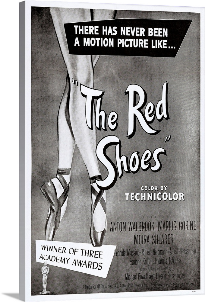 Large Solid-Faced Canvas Print Wall Art Print 20 x 30 entitled The Red Shoes Solid-Faced Canvas Print entitled The Red Shoes.  THE RED SHOES, US poster art, 1948.  Multiple sizes available.  Primary colors within this image include Black, Gray, White.  Made in the USA.  Satisfaction guaranteed.  Archival-quality UV-resistant inks.  Archival inks prevent fading and preserve as much fine detail as possible with no over-saturation or color shifting.  Canvas is handcrafted and made-to-order in the United States using high quality artist-grade canvas.