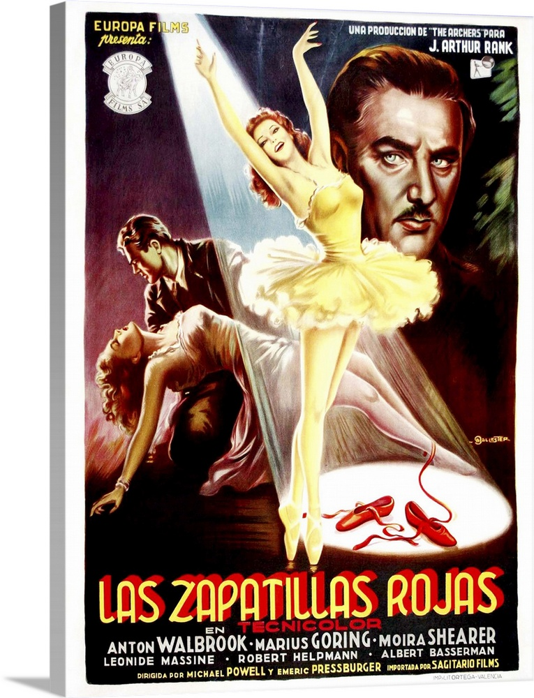 Large Solid-Faced Canvas Print Wall Art Print 18 x 24 entitled The Red Shoes, Poster Art From Spain, 1948 Solid-Faced Canvas Print entitled The Red Shoes, Poster Art From Spain, 1948.  The Red Shoes, aka Las Zapatillas Rojas, Poster Art From Spain, From Lower Left Moira Shearer, Marius Goring, Moira Shearer, Anton Walbrook, 1948.  Multiple sizes available.  Primary colors within this image include Red, Light Yellow, Black, White.  Made in the USA.  Satisfaction guaranteed.  Inks used are latex-based and designed to last.  Canvas is handcrafted and made-to-order in the United States using high quality artist-grade canvas.  Featuring a proprietary design, our canvases produce the tightest corners without any bubbles, ripples, or bumps and will not warp or sag over time.