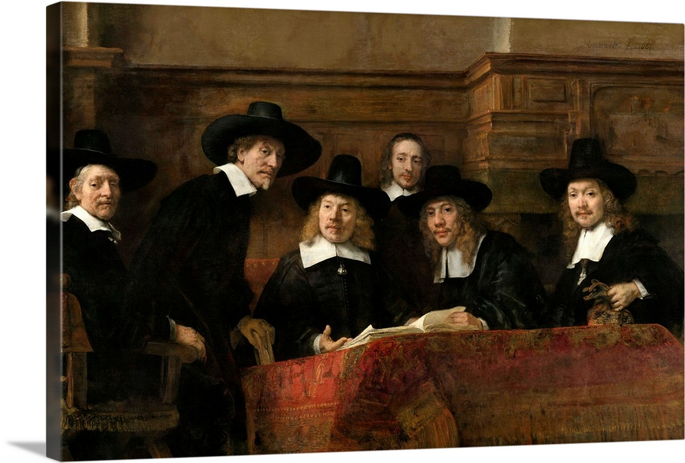 Large Solid-Faced Canvas Print Wall Art Print 30 x 20 entitled The Syndics, by Rembrandt van Rijn, 1662 Solid-Faced Canvas Print entitled The Syndics, by Rembrandt van Rijn, 1662.  The Syndics, by Rembrandt van Rijn, 1662, Dutch painting, oil on canvas. The painting, original title was, The Sampling Officials of the Amsterdam Drapers Guild. The wardens of the Amsterdam cloth makers guild are gathered around carpet covered table and open swatch book.  Multiple sizes available.  Primary colors within this image include Dark Red, Black, Light Gray.  Made in the USA.  Satisfaction guaranteed.  Archival-quality UV-resistant inks.  Canvas is handcrafted and made-to-order in the United States using high quality artist-grade canvas.  Featuring a proprietary design, our canvases produce the tightest corners without any bubbles, ripples, or bumps and will not warp or sag over time.