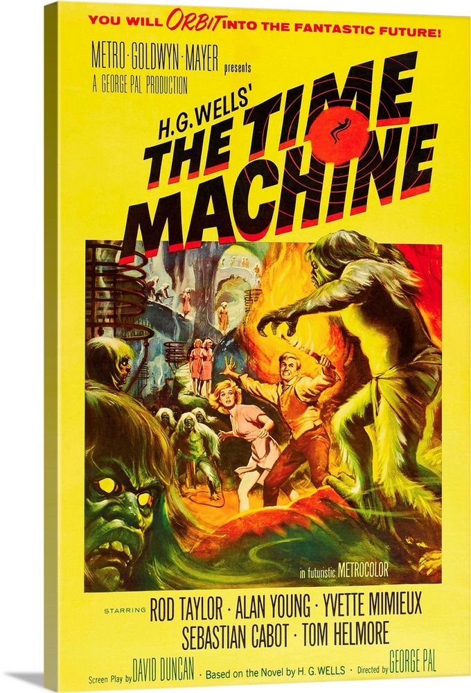 Large Solid-Faced Canvas Print Wall Art Print 20 x 30 entitled The Time Machine - Movie Poster Solid-Faced Canvas Print entitled The Time Machine - Movie Poster.  Multiple sizes available.  Primary colors within this image include Red, Yellow, Dark Yellow, Black.  Made in USA.  All products come with a 365 day workmanship guarantee.  Inks used are latex-based and designed to last.  Canvas is handcrafted and made-to-order in the United States using high quality artist-grade canvas.  Archival inks prevent fading and preserve as much fine detail as possible with no over-saturation or color shifting.