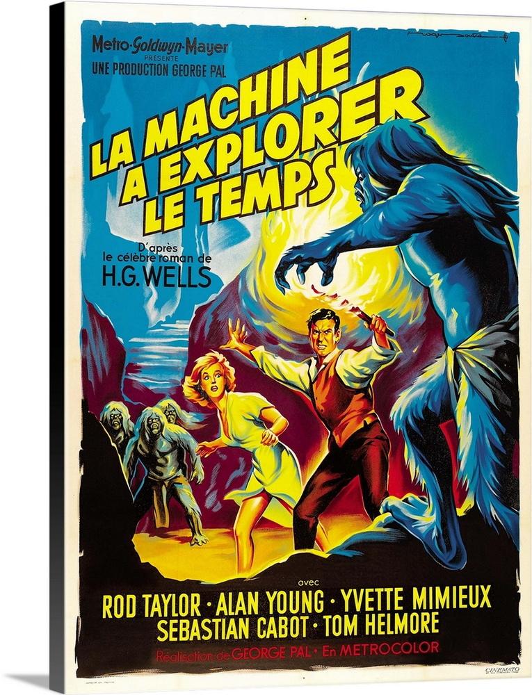 Large Solid-Faced Canvas Print Wall Art Print 18 x 24 entitled The Time Machine - Vintage Movie Poster (French) Solid-Faced Canvas Print entitled The Time Machine - Vintage Movie Poster French.  Multiple sizes available.  Primary colors within this image include Yellow, Plum, Light Yellow, Gray Blue.  Made in USA.  Satisfaction guaranteed.  Inks used are latex-based and designed to last.  Featuring a proprietary design, our canvases produce the tightest corners without any bubbles, ripples, or bumps and will not warp or sag over time.  Canvas depth is 1.25 and includes a finished backing with pre-installed hanging hardware.