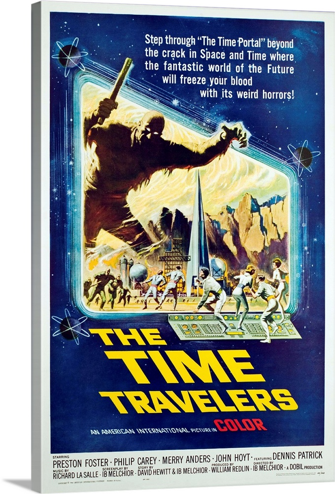 Large Solid-Faced Canvas Print Wall Art Print 20 x 30 entitled The Time Travelers - Vintage Movie Poster Solid-Faced Canvas Print entitled The Time Travelers - Vintage Movie Poster.  Multiple sizes available.  Primary colors within this image include Yellow, Dark Blue, Peach, Pale Blue.  Made in USA.  All products come with a 365 day workmanship guarantee.  Archival-quality UV-resistant inks.  Archival inks prevent fading and preserve as much fine detail as possible with no over-saturation or color shifting.  Canvas is handcrafted and made-to-order in the United States using high quality artist-grade canvas.