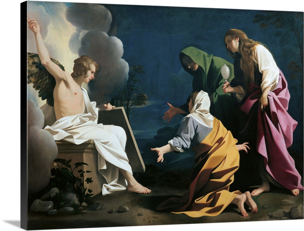 Large Gallery-Wrapped Canvas Wall Art Print 24 x 18 entitled Three Marys At The Sepulcher, By Bartolomeo Schedoni, C. 1613... Gallery-Wrapped Canvas entitled Three Marys At The Sepulcher, By Bartolomeo Schedoni, C. 1613-1614. Italy.  The Three Marys at the Sepulcher, by Bartolomeo Schedoni, 1613 - 1614 about, 17th Century, oil on panel, cm 228 x 283 - Italy, Emilia Romagna, Parma, National Gallery. All. Three women angel tomb light shade dresses clothes garments yellow pink green whit.  Multiple sizes available.  Primary colors within this image include Peach, Gray, White, Dark Navy Blue.  Made in the USA.  All products come with a 365 day workmanship guarantee.  Archival-quality UV-resistant inks.  Canvas is a 65 polyester, 35 cotton base, with two acrylic latex primer basecoats and a semi-gloss inkjet receptive topcoat.  Canvas is designed to prevent fading.