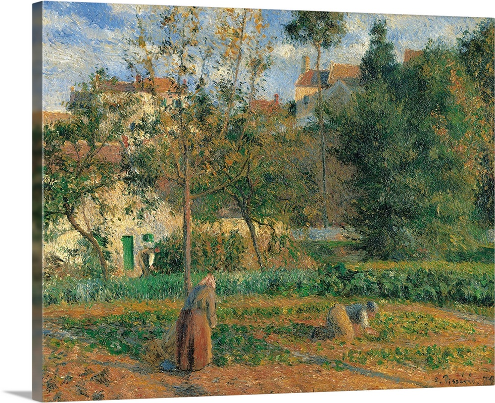 Large Solid-Faced Canvas Print Wall Art Print 30 x 24 entitled Vegetable Garden at the Hermitage, Pontoise, by Camille Pis... Solid-Faced Canvas Print entitled Vegetable Garden at the Hermitage, Pontoise, by Camille Pissarro, 1879.  Vegetable Garden at the Hermitage, Pontoise, by Camille Pissarro, 1879, 19th Century, oil on canvas, cm 55,5 x 65 - France, Ile de France, Paris, Muse dOrsay, RF1937-48. All. Vegetable garden at the Hermitage, Pontoise garden woman landscape trees shadows.  Multiple sizes available.  Primary colors within this image include Peach, Sky Blue, Black, Gray.  Made in USA.  Satisfaction guaranteed.  Archival-quality UV-resistant inks.  Archival inks prevent fading and preserve as much fine detail as possible with no over-saturation or color shifting.  Canvas depth is 1.25 and includes a finished backing with pre-installed hanging hardware.