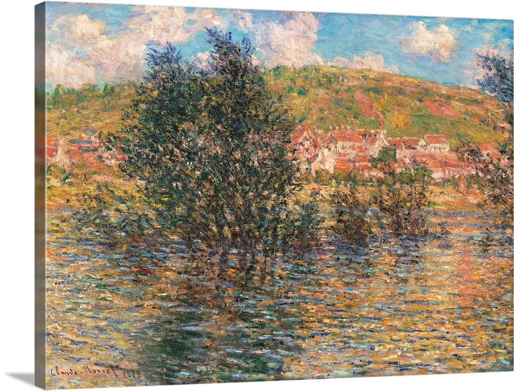 Large Solid-Faced Canvas Print Wall Art Print 40 x 30 entitled Vetheuil, View from Lavacourt, by Claude Monet, 1879. Musee... Solid-Faced Canvas Print entitled Vetheuil, View from Lavacourt, by Claude Monet, 1879. Musee dOrsay, Paris, France.  Vtheuil, View from Lavacourt, by Claude Monet, 1879, 19th Century, oil on canvas, cm 60 x 81 - France, Ile de France, Paris, Muse dOrsay, RF1998. All. Landscape Vtheuil azure light blue green trees clouds shadows houses grass field sky. 246670 Everett C.  Multiple sizes available.  Primary colors within this image include Peach, Muted Blue, Dark Forest Green, Light Gray Blue.  Made in USA.  Satisfaction guaranteed.  Inks used are latex-based and designed to last.  Archival inks prevent fading and preserve as much fine detail as possible with no over-saturation or color shifting.  Canvas is handcrafted and made-to-order in the United States using high quality artist-grade canvas.