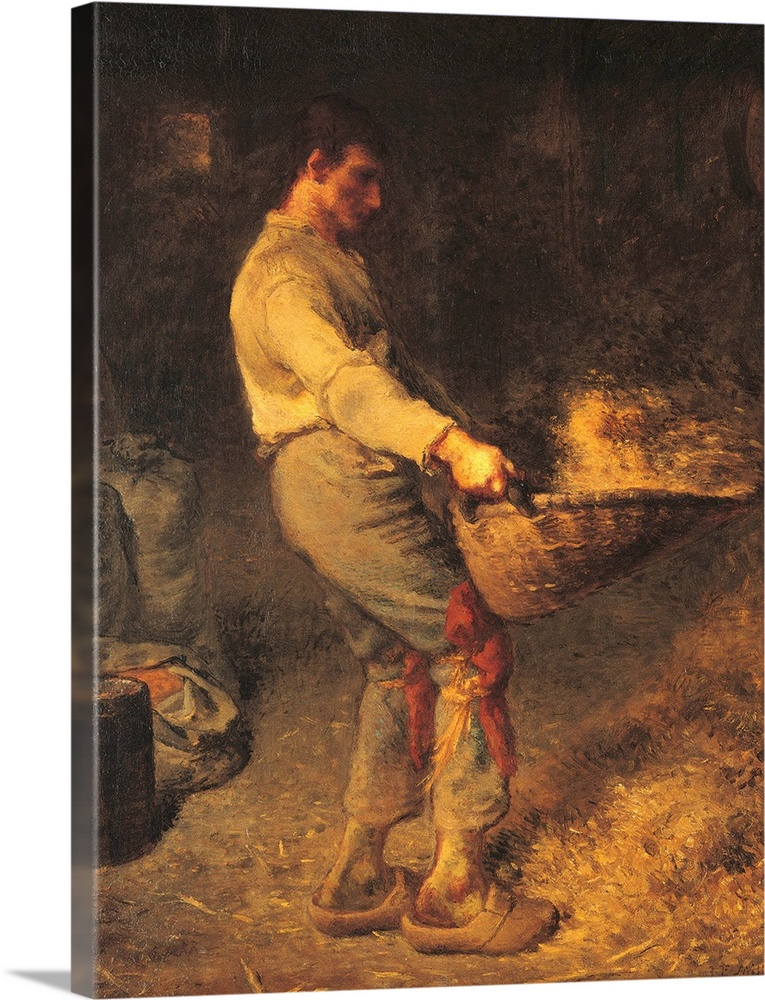 Large Solid-Faced Canvas Print Wall Art Print 30 x 40 entitled Winnower, by Jean-Francois Millet, c. 1866-1868. Musee d'Or... Solid-Faced Canvas Print entitled Winnower, by Jean-Francois Millet, c. 1866-1868. Musee dOrsay, Paris, France.  A Winnower, by Jean-Franois Millet, 1866 - 1868, 19th Century, oil on canvas, cm 79 x 58 - France, Ile de France, Paris, Muse dOrsay, RF1874. All. Young peasant willowing wheat shoes trousers barn straw sacks. 273045 Everett CollectionMondadori Portfol.  Multiple sizes available.  Primary colors within this image include Pink, Peach, Dark Gray.  Made in the USA.  All products come with a 365 day workmanship guarantee.  Inks used are latex-based and designed to last.  Featuring a proprietary design, our canvases produce the tightest corners without any bubbles, ripples, or bumps and will not warp or sag over time.  Archival inks prevent fading and preserve as much fine detail as possible with no over-saturation or color shifting.