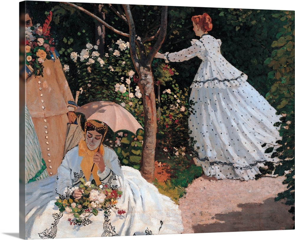 Large Gallery-Wrapped Canvas Wall Art Print 20 x 16 entitled Women in the Garden, by Claude Monet, 1866-1867. Musee d'Orsa... Gallery-Wrapped Canvas entitled Women in the Garden by Claude Monet 1866-1867. Musee dOrsay Paris France. Detail.  Women in the Garden by Claude Monet 1866 - 1867 19th Century oil on canvas cm 255 x 205 - France Ile de France Paris Muse dOrsay RF 2773. Detail. Women garden tree light blue azure white pink green grass path rose umbrella skirt dress. 246669 E.  Multiple sizes available.  Primary colors within this image include Brown Black Light Gray.  Made in the USA.  Satisfaction guaranteed.  Archival-quality UV-resistant inks.  Canvas frames are built with farmed or reclaimed domestic pine or poplar wood.  Canvas is acid-free and 20 millimeters thick.