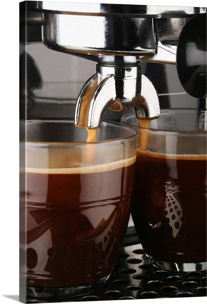 Large Gallery-Wrapped Canvas Wall Art Print 16 x 24 entitled Making Fresh Espresso Coffee In Glass Cups From Coffee Machine Gallery-Wrapped Canvas entitled Making Fresh Espresso Coffee In Glass Cups From Coffee Machine.  Multiple sizes available.  Primary colors within this image include Peach Black Gray White.  Made in the USA.  Satisfaction guaranteed.  Inks used are latex-based and designed to last.  Museum-quality artist-grade canvas mounted on sturdy wooden stretcher bars 1.5 thick.  Comes ready to hang.  Canvas is a 65 polyester 35 cotton base with two acrylic latex primer basecoats and a semi-gloss inkjet receptive topcoat.