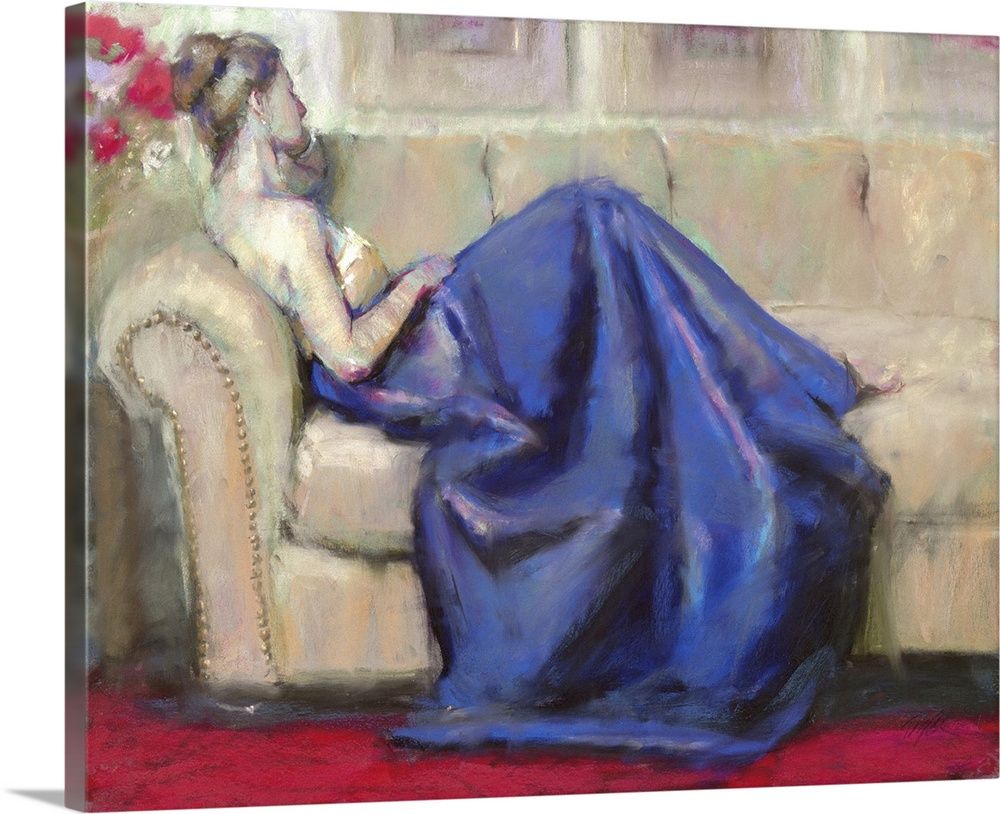 Large Solid-Faced Canvas Print Wall Art Print 30 x 24 entitled After the Ball I Solid-Faced Canvas Print entitled After the Ball I.  Contemporary artwork of a woman wearing a formal gown and lounging on a sofa.  Multiple sizes available.  Primary colors within this image include Dark Red, Dark Gray, Silver, Muted Blue.  Made in USA.  Satisfaction guaranteed.  Inks used are latex-based and designed to last.  Canvas depth is 1.25 and includes a finished backing with pre-installed hanging hardware.  Archival inks prevent fading and preserve as much fine detail as possible with no over-saturation or color shifting.