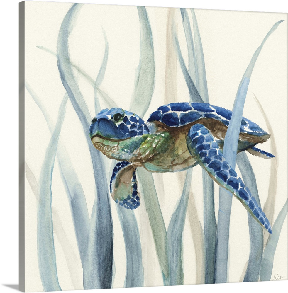 Solid-Faced Canvas drucken wand kunst entitled Turtle in Seagrass II