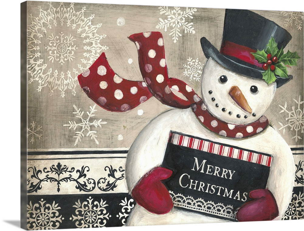 Solid-Faced Canvas Print Wall Art entitled Christmas Snowman