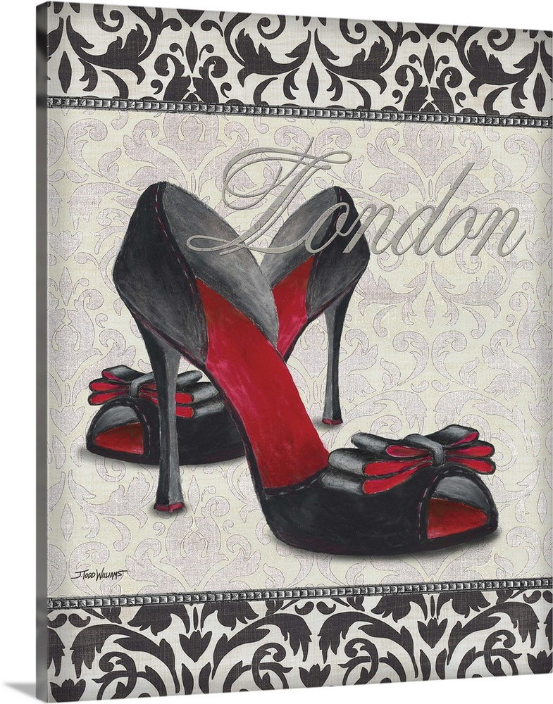 Large Solid-Faced Canvas Print Wall Art Print 24 x 30 entitled Classy Shoes I Solid-Faced Canvas Print entitled Classy Shoes I.  Black, white, and red decor with an illustration of  a pair of high heel shoes with London written on top in silver.  Multiple sizes available.  Primary colors within this image include Dark Red, Dark Gray, White.  Made in USA.  All products come with a 365 day workmanship guarantee.  Inks used are latex-based and designed to last.  Canvas depth is 1.25 and includes a finished backing with pre-installed hanging hardware.  Canvas is handcrafted and made-to-order in the United States using high quality artist-grade canvas.