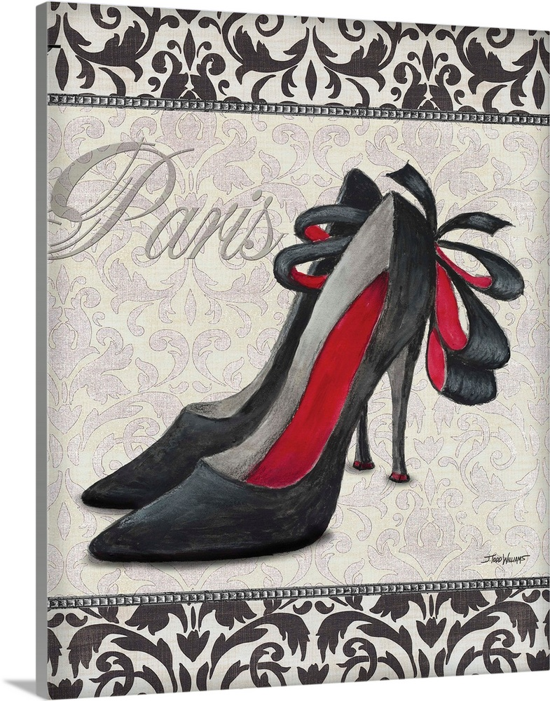 Large Solid-Faced Canvas Print Wall Art Print 24 x 30 entitled Classy Shoes II Solid-Faced Canvas Print entitled Classy Shoes II.  Black, white, and red decor with an illustration of  a pair of high heel shoes with Paris written on top in silver.  Multiple sizes available.  Primary colors within this image include Dark Red, Dark Gray, White.  Made in USA.  Satisfaction guaranteed.  Archival-quality UV-resistant inks.  Archival inks prevent fading and preserve as much fine detail as possible with no over-saturation or color shifting.  Canvas is handcrafted and made-to-order in the United States using high quality artist-grade canvas.