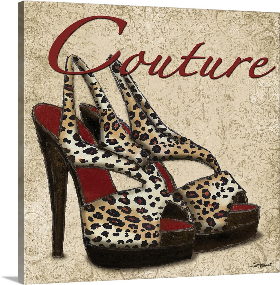 Large Solid-Faced Canvas Print Wall Art Print 20 x 20 entitled Couture Shoes Solid-Faced Canvas Print entitled Couture Shoes.  Square decor with an illustration of cheetah print heels and Couture written on top in red.  Multiple sizes available.  Primary colors within this image include Dark Red, Black, Light Gray, White.  Made in the USA.  Satisfaction guaranteed.  Inks used are latex-based and designed to last.  Canvas is handcrafted and made-to-order in the United States using high quality artist-grade canvas.  Featuring a proprietary design, our canvases produce the tightest corners without any bubbles, ripples, or bumps and will not warp or sag over time.
