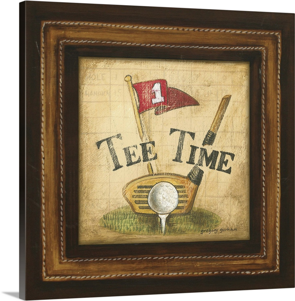 Large Solid-Faced Canvas Print Wall Art Print 20 x 20 entitled Golf Tee Time Solid-Faced Canvas Print entitled Golf Tee Time.  Multiple sizes available.  Primary colors within this image include Dark Red, Peach, Dark Gray.  Made in USA.  Satisfaction guaranteed.  Inks used are latex-based and designed to last.  Canvas depth is 1.25 and includes a finished backing with pre-installed hanging hardware.  Canvas is handcrafted and made-to-order in the United States using high quality artist-grade canvas.