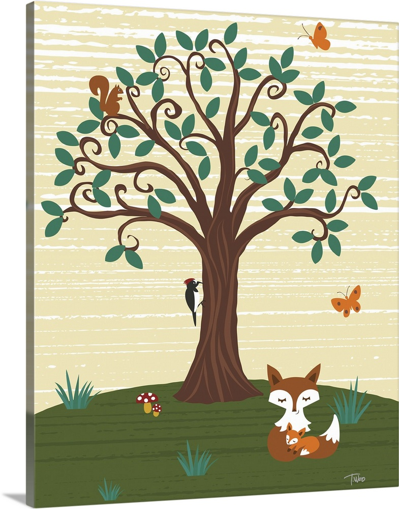 Solid-Faced Canvas Print Wall Art entitled Grand Tree and Foxes