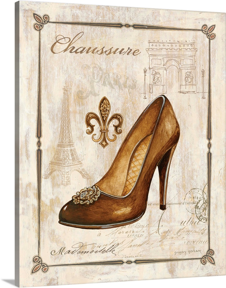 Large Solid-Faced Canvas Print Wall Art Print 24 x 30 entitled Keys to Paris Chaussure Solid-Faced Canvas Print entitled Keys to Paris Chaussure.  Gold and tan antique illustration of a gold high heel shoe with French writing and illustrations in the background.  Multiple sizes available.  Primary colors within this image include Brown, Black, Gray, White.  Made in the USA.  All products come with a 365 day workmanship guarantee.  Inks used are latex-based and designed to last.  Featuring a proprietary design, our canvases produce the tightest corners without any bubbles, ripples, or bumps and will not warp or sag over time.  Canvas is handcrafted and made-to-order in the United States using high quality artist-grade canvas.