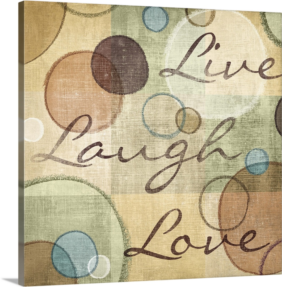 Large Solid-Faced Canvas Print Wall Art Print 20 x 20 entitled Live Laugh Love Solid-Faced Canvas Print entitled Live Laugh Love.  Multiple sizes available.  Primary colors within this image include Black, Gray, White, Dark Forest Green.  Made in the USA.  All products come with a 365 day workmanship guarantee.  Inks used are latex-based and designed to last.  Canvas is handcrafted and made-to-order in the United States using high quality artist-grade canvas.  Featuring a proprietary design, our canvases produce the tightest corners without any bubbles, ripples, or bumps and will not warp or sag over time.