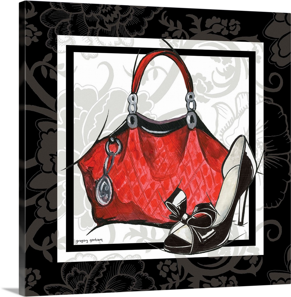 Large Solid-Faced Canvas Print Wall Art Print 20 x 20 entitled Purse and Shoe I Solid-Faced Canvas Print entitled Purse and Shoe I.  Multiple sizes available.  Primary colors within this image include Brown, Pink, Black, White.  Made in the USA.  All products come with a 365 day workmanship guarantee.  Archival-quality UV-resistant inks.  Canvas depth is 1.25 and includes a finished backing with pre-installed hanging hardware.  Featuring a proprietary design, our canvases produce the tightest corners without any bubbles, ripples, or bumps and will not warp or sag over time.