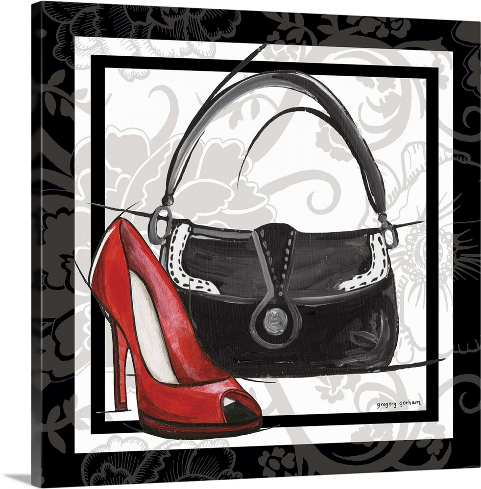 Large Solid-Faced Canvas Print Wall Art Print 20 x 20 entitled Purse and Shoe II Solid-Faced Canvas Print entitled Purse and Shoe II.  Multiple sizes available.  Primary colors within this image include Pink, Black, Gray, White.  Made in USA.  Satisfaction guaranteed.  Archival-quality UV-resistant inks.  Archival inks prevent fading and preserve as much fine detail as possible with no over-saturation or color shifting.  Featuring a proprietary design, our canvases produce the tightest corners without any bubbles, ripples, or bumps and will not warp or sag over time.