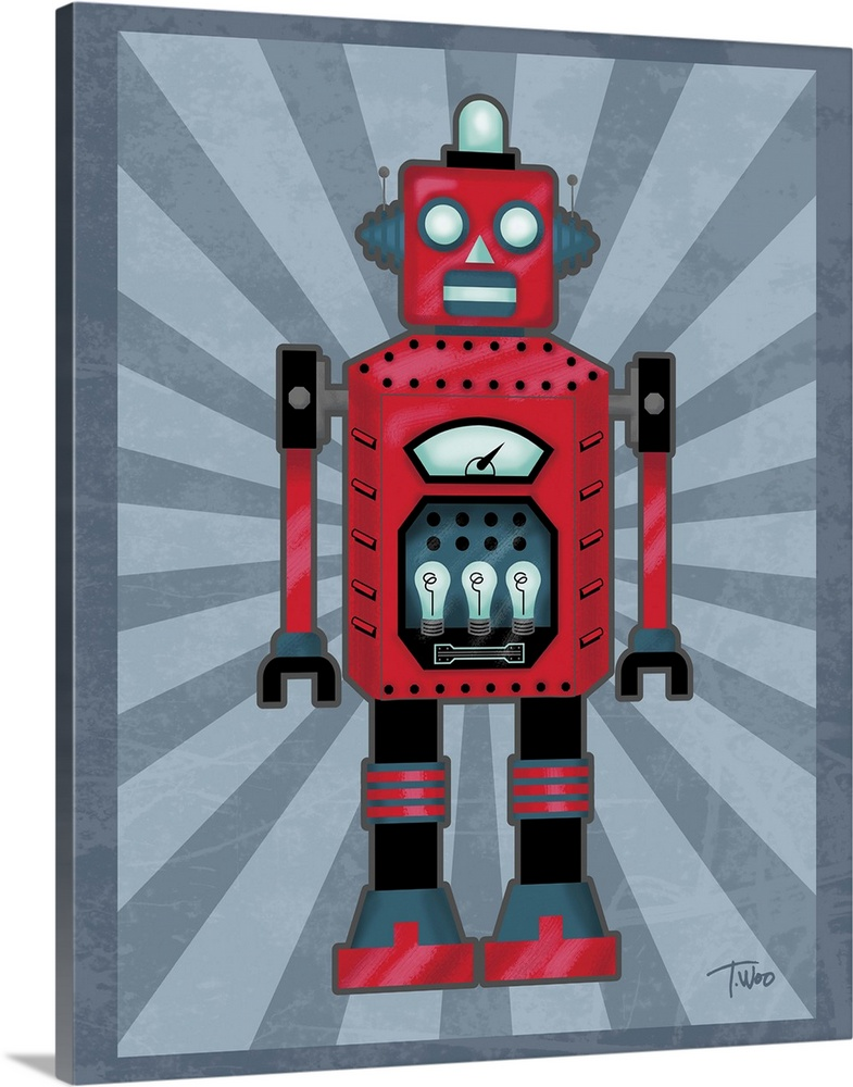 Solid-Faced Canvas Print Wall Art entitled Robot II