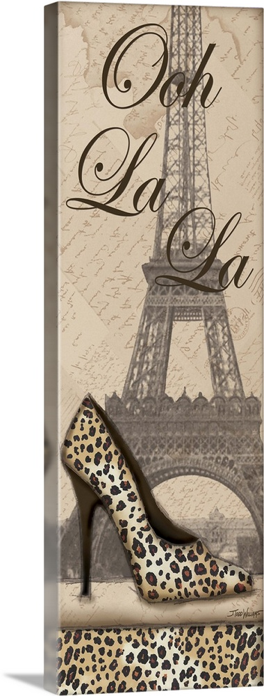 Large Solid-Faced Canvas Print Wall Art Print 12 x 36 entitled Travel in Style I Solid-Faced Canvas Print entitled Travel in Style I.  Tall and skinny decor with an illustration of the Eiffel Tower in the background and a cheetah print high heel shoe on top with the phrase Ooh La La.  Multiple sizes available.  Primary colors within this image include Black, Silver.  Made in the USA.  All products come with a 365 day workmanship guarantee.  Inks used are latex-based and designed to last.  Canvas depth is 1.25 and includes a finished backing with pre-installed hanging hardware.  Featuring a proprietary design, our canvases produce the tightest corners without any bubbles, ripples, or bumps and will not warp or sag over time.
