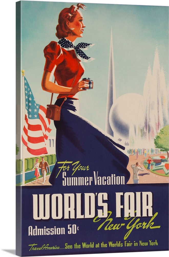 Large Solid-Faced Canvas Print Wall Art Print 20 x 30 entitled 1939 New York World's Fair Poster, For Your Summer Vacation Solid-Faced Canvas Print entitled 1939 New York Worlds Fair Poster, For Your Summer Vacation.  Stylish Fairgoer with camera in front of Trylon and Perisphere.  Multiple sizes available.  Primary colors within this image include Red, Dark Red, Peach, Dark Navy Blue.  Made in USA.  All products come with a 365 day workmanship guarantee.  Inks used are latex-based and designed to last.  Archival inks prevent fading and preserve as much fine detail as possible with no over-saturation or color shifting.  Canvas depth is 1.25 and includes a finished backing with pre-installed hanging hardware.