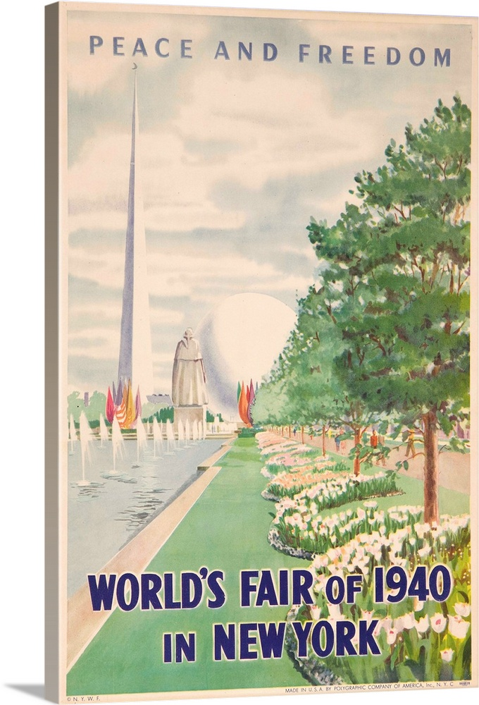 Large Solid-Faced Canvas Print Wall Art Print 24 x 36 entitled 1940 New York World's Fair Poster Solid-Faced Canvas Print entitled 1940 New York Worlds Fair Poster.  Peace and Freedom.  Multiple sizes available.  Primary colors within this image include Pink, Gray, Silver, Muted Blue.  Made in the USA.  Satisfaction guaranteed.  Archival-quality UV-resistant inks.  Featuring a proprietary design, our canvases produce the tightest corners without any bubbles, ripples, or bumps and will not warp or sag over time.  Canvas depth is 1.25 and includes a finished backing with pre-installed hanging hardware.