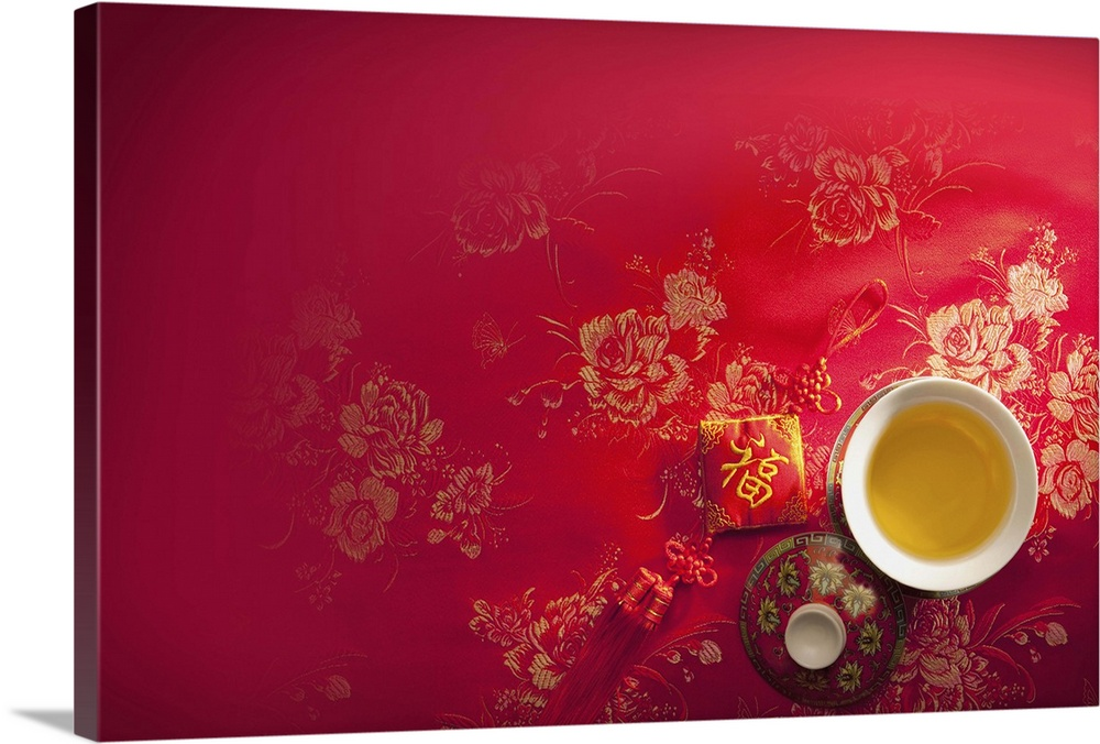Large Gallery-Wrapped Canvas Wall Art Print 24 x 16 entitled A cup of tea and Chinese decoration on a red cloth, CG, Chine... Gallery-Wrapped Canvas entitled A cup of tea and Chinese decoration on a red cloth, CG, Chinese Culture, Backgrounds.  Multiple sizes available.  Primary colors within this image include Dark Yellow, Plum, Peach, White.  Made in the USA.  All products come with a 365 day workmanship guarantee.  Archival-quality UV-resistant inks.  Canvas is acid-free and 20 millimeters thick.  Canvas is designed to prevent fading.