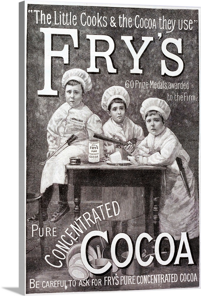 Large Solid-Faced Canvas Print Wall Art Print 20 x 30 entitled Advertisement For Fry's Cocoa Solid-Faced Canvas Print entitled Advertisement For Frys Cocoa.  Advertisement for Frys Cocoa. Shows children in chefs clothing round a kitchen table.  Multiple sizes available.  Primary colors within this image include Black, Gray, White.  Made in USA.  All products come with a 365 day workmanship guarantee.  Inks used are latex-based and designed to last.  Canvas depth is 1.25 and includes a finished backing with pre-installed hanging hardware.  Featuring a proprietary design, our canvases produce the tightest corners without any bubbles, ripples, or bumps and will not warp or sag over time.