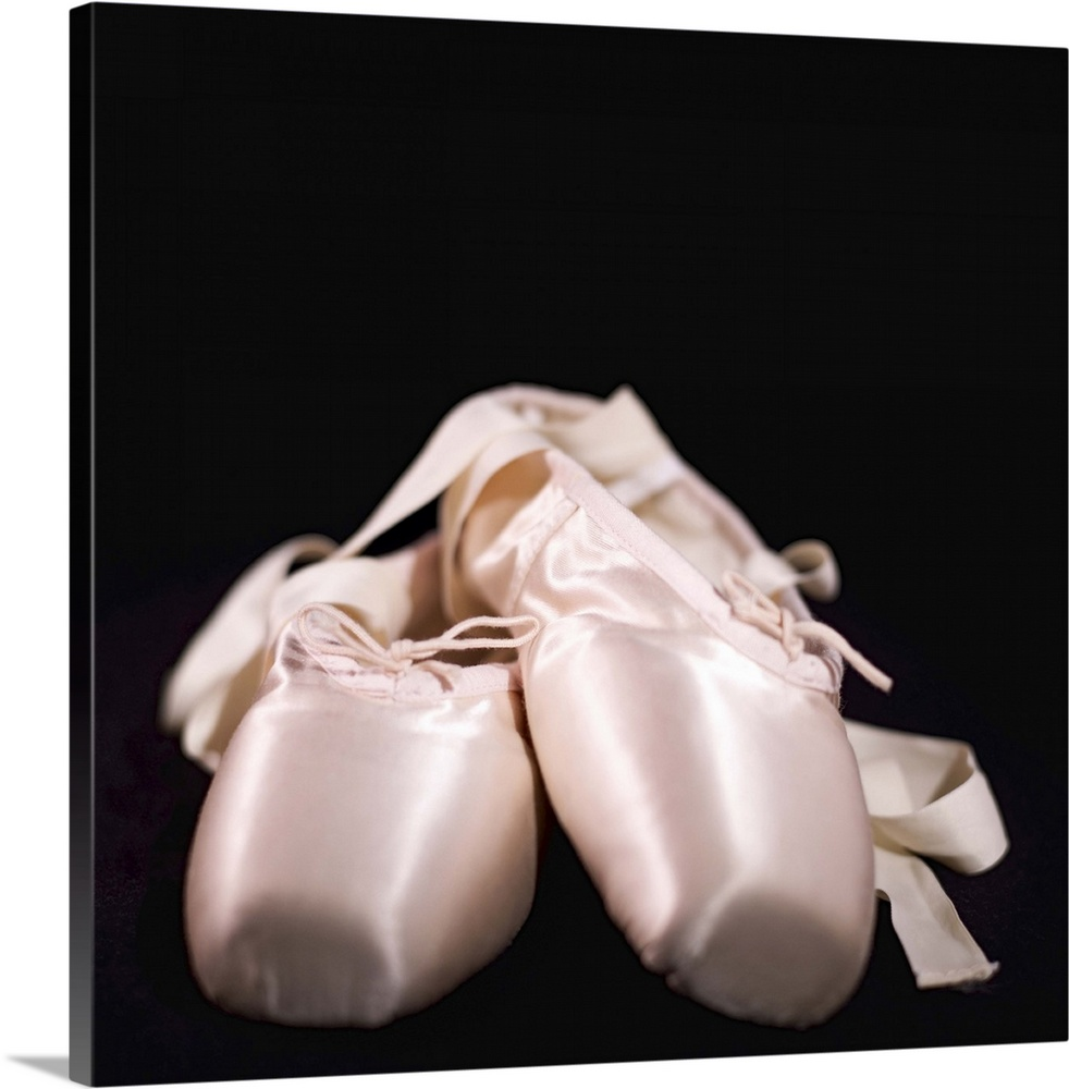 Large Solid-Faced Canvas Print Wall Art Print 20 x 20 entitled ballet shoes Solid-Faced Canvas Print entitled ballet shoes.  Multiple sizes available.  Primary colors within this image include Black, Gray, White.  Made in the USA.  All products come with a 365 day workmanship guarantee.  Archival-quality UV-resistant inks.  Archival inks prevent fading and preserve as much fine detail as possible with no over-saturation or color shifting.  Featuring a proprietary design, our canvases produce the tightest corners without any bubbles, ripples, or bumps and will not warp or sag over time.