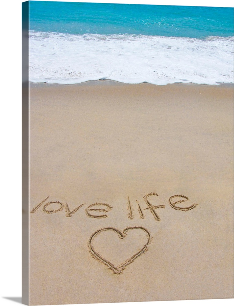 Large Solid-Faced Canvas Print Wall Art Print 30 x 40 entitled Beach on Fire Island, NY with the words 'love life' written... Solid-Faced Canvas Print entitled Beach on Fire Island, NY with the words love life written in the sand.  Multiple sizes available.  Primary colors within this image include Black, Gray, White, Teal.  Made in the USA.  All products come with a 365 day workmanship guarantee.  Archival-quality UV-resistant inks.  Archival inks prevent fading and preserve as much fine detail as possible with no over-saturation or color shifting.  Featuring a proprietary design, our canvases produce the tightest corners without any bubbles, ripples, or bumps and will not warp or sag over time.