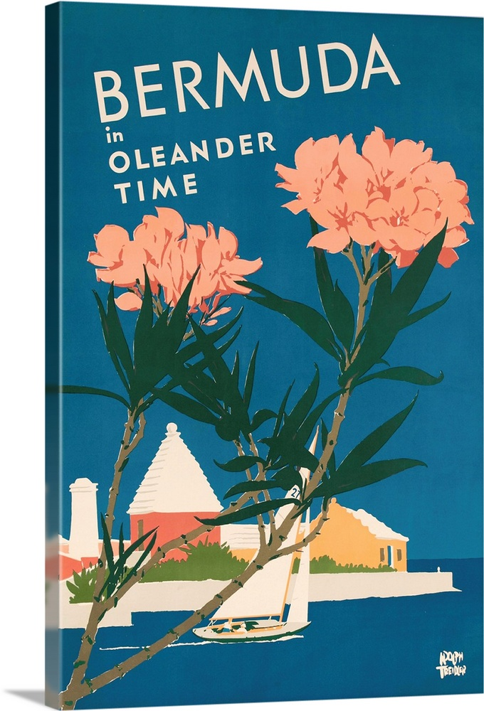 Large Solid-Faced Canvas Print Wall Art Print 20 x 30 entitled Bermuda In Oleander Time, Travel Poster Solid-Faced Canvas Print entitled Bermuda In Oleander Time, Travel Poster.  Bermuda travel poster showing sailboat in front of typical architecture with flowering Oleanders in the foreground, illustrated by Adolph Treidler ca 1950s.  Multiple sizes available.  Primary colors within this image include Forest Green, Pink, White, Gray Blue.  Made in USA.  All products come with a 365 day workmanship guarantee.  Inks used are latex-based and designed to last.  Canvas is handcrafted and made-to-order in the United States using high quality artist-grade canvas.  Archival inks prevent fading and preserve as much fine detail as possible with no over-saturation or color shifting.