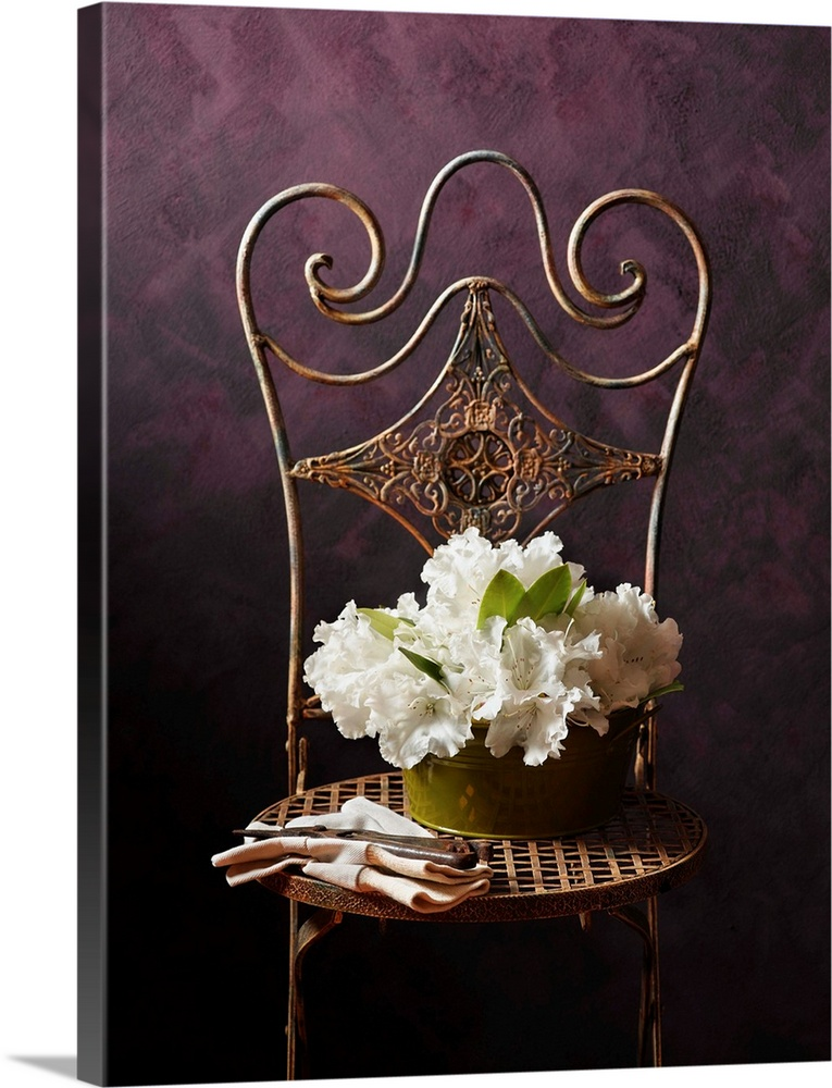 Large Solid-Faced Canvas Print Wall Art Print 30 x 40 entitled Bouquet of rhododendron flowers in tin on chair with garden... Solid-Faced Canvas Print entitled Bouquet of rhododendron flowers in tin on chair with gardening gloves.  Flowers.  Multiple sizes available.  Primary colors within this image include Dark Yellow, Black, Gray, Silver.  Made in USA.  Satisfaction guaranteed.  Archival-quality UV-resistant inks.  Canvas depth is 1.25 and includes a finished backing with pre-installed hanging hardware.  Canvas is handcrafted and made-to-order in the United States using high quality artist-grade canvas.