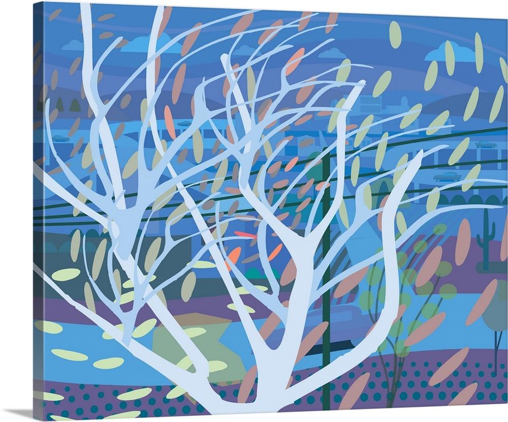 Solid-Faced Canvas drucken wand kunst entitled Swirling Tree in Wind