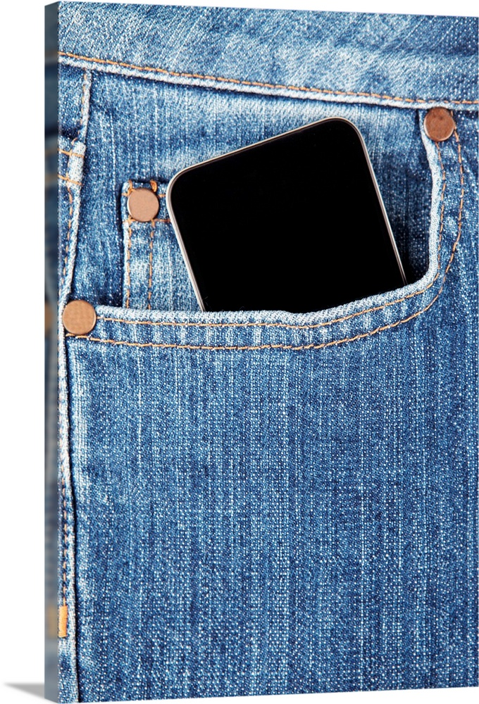 Large Gallery-Wrapped Canvas Wall Art Print 16 x 24 entitled Cell phone in denim jeans pocket Gallery-Wrapped Canvas entitled Cell phone in denim jeans pocket.  Multiple sizes available.  Primary colors within this image include Peach, Black, White, Gray Blue.  Made in USA.  Satisfaction guaranteed.  Archival-quality UV-resistant inks.  Canvas is a 65 polyester, 35 cotton base, with two acrylic latex primer basecoats and a semi-gloss inkjet receptive topcoat.  Canvases are stretched across a 1.5 inch thick wooden frame with easy-to-mount hanging hardware.